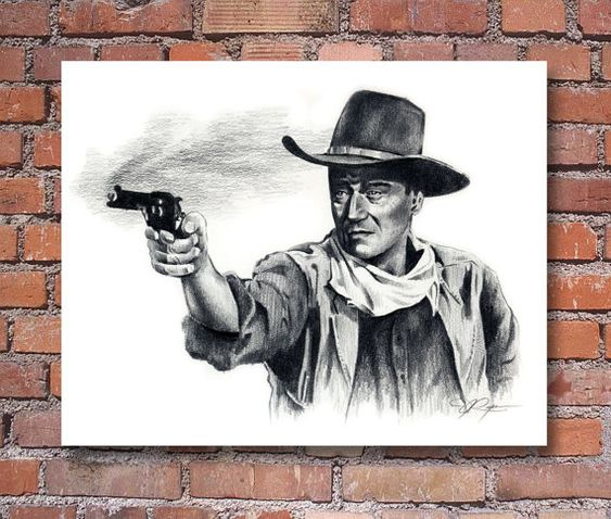 John Wayne The Duke Movie Portrait Signed Pencil Art