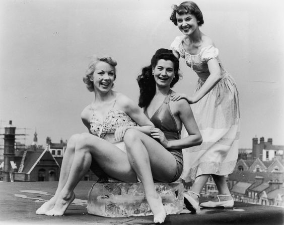 UDREY HEPBURN LOOKBOOK June 1949 Where: With Aud Johannsen and Enid Smeeden at the Cambridge Theater in London, England.