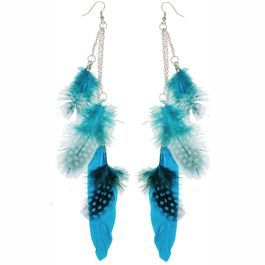 "3 Feather Earrings, 7"" Total Length"