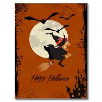 Halloween Wicked Witch On Orange Background Postcard