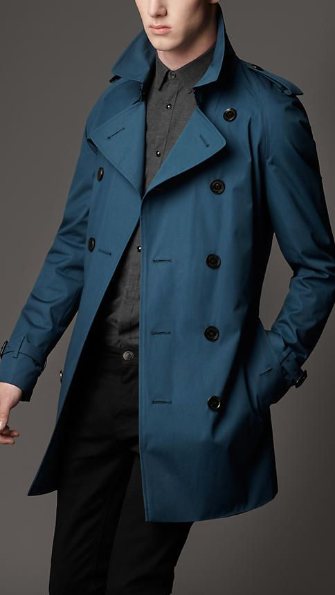 Raglan Trench Coat. Blue trench coat: