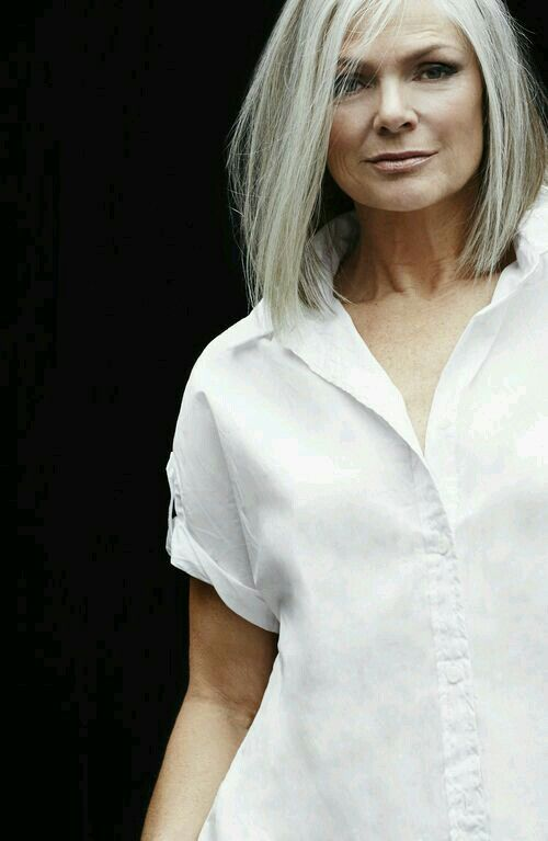 Great blunt cut gray hair.