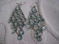 Elegante silberne Ohrringe mit hellblauen Steinen, Modeschmuck, guter Zustand!