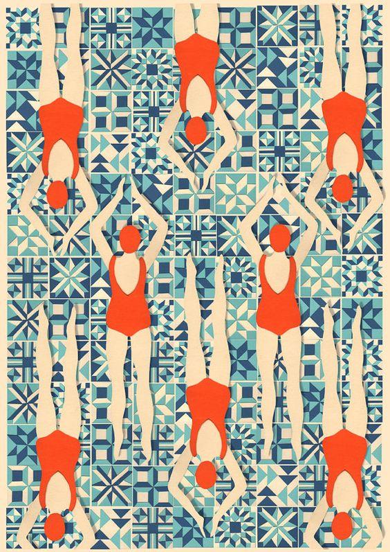 Art Deco Print // Swimmers print // Papercut by LouTaylorStudio