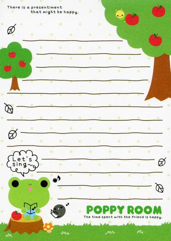 Free Notes: Poppy Room  #free #printables #cute #kawaii #asian #stationary #frog #memo