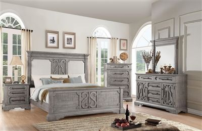Artesia Panel Bed 6 Piece Bedroom Set In Salvaged Natural Finish