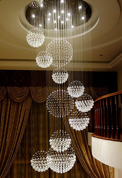 Luxury Solar System Spiral Raindrop Chandelier For Foyer And