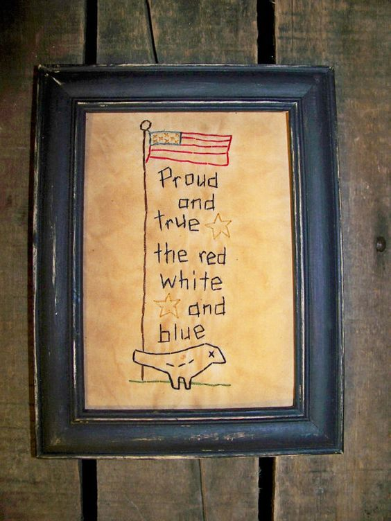 Primitive Americana Stitchery Prim Decor Country Flag Crow