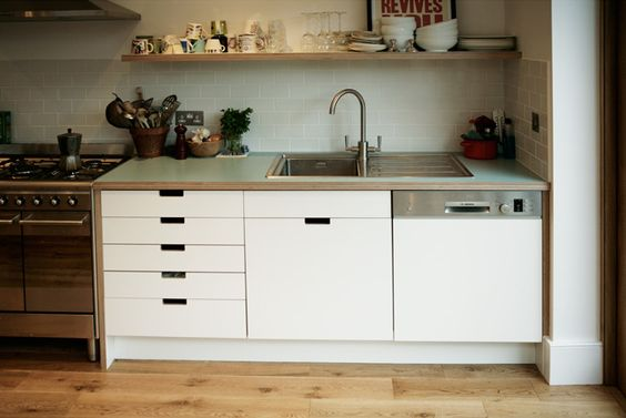 Birch Plywood & Formica Kitchen Worktop, Shelves & Drawers