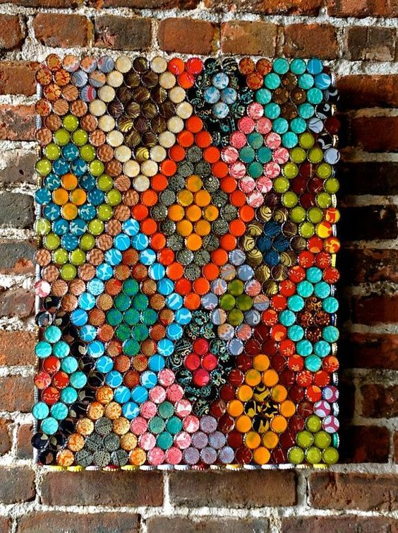 Geometric Bottle Cap Wall Art will give you inspiration to make a geometric design of your own.