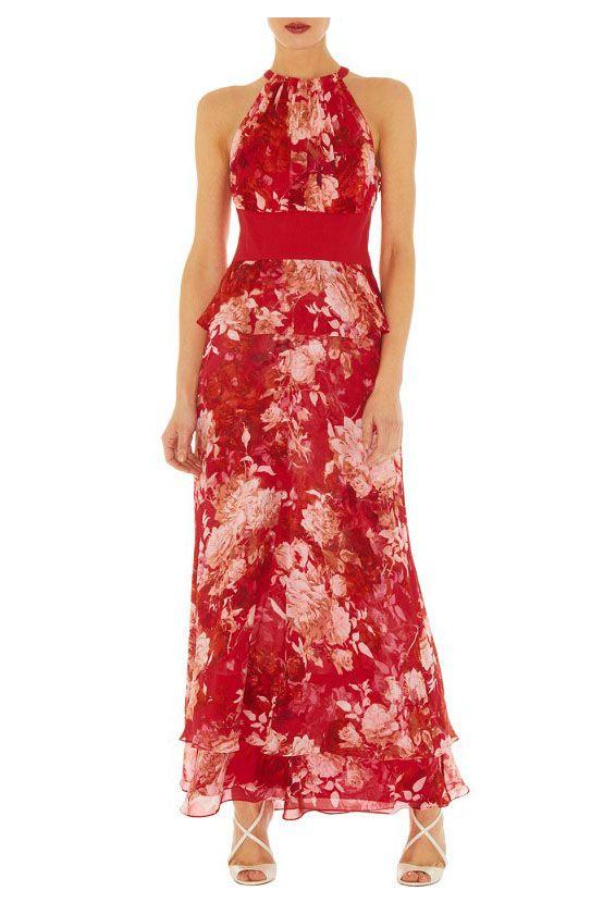 Red hanging neck floral dress_Dresses(d)_DESIGNER_Voguec Shop