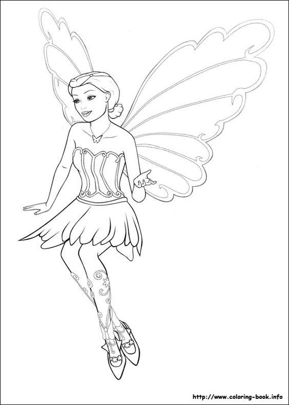 Coloring Pages Barbie Mariposa Thestout Fairy Princess 8