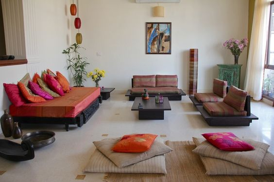 Ethnic Indian Living Room Interiors Indian Color Pinterest Floor Cushio