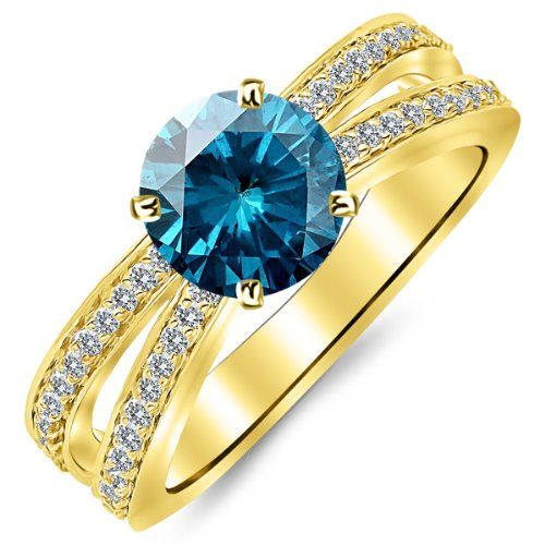 0.95 Carat Designer Split Shank Double Row Contemporary Diamond Engagement Ring 14K Yellow Gold with a 0.5 Carat Round Cut AAA Quality Blue Diamond (Heirloom Quality) *** See this great product.