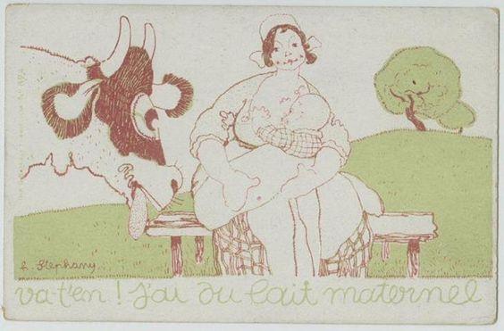 Va-t'en ! j'ai du lait maternel Carte postale - Premier quart du XXème siècle Dessinateur H Stephany (texte imprimé, au revers : BUREAU D'ASSISTANCE A L'ENFANCE - CROIX ROUGE AMERICAINE) Rouen ; musée Flaubert & d'Histoire de la Médecine #crevasse_allaitement
