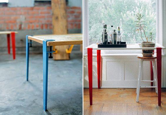Estrutura de metal transforma qualquer superfície plana em uma mesa estilosa