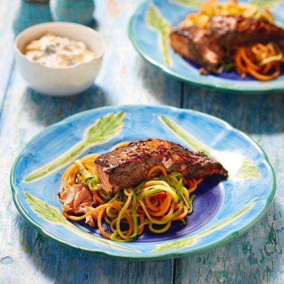 Jerk Salmon With Spiralized Sweet Potato, Courgette And Mango Yogurt - Woman And Home