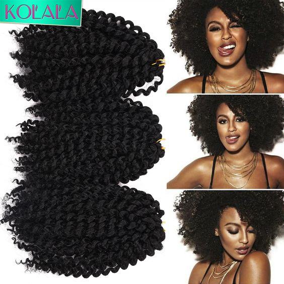 """8 """"Kinky Afro Encaracolados Tranças De Crochê Marlybob Freetress Ondulado Extensões Do Cabelo Da Trança 3 pçs/set Mambo Havana Torção encaracolado Massa cabelo"""