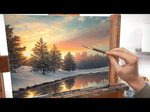 A Snowy Winter Landscape Painting One Quiet Morning Youtube