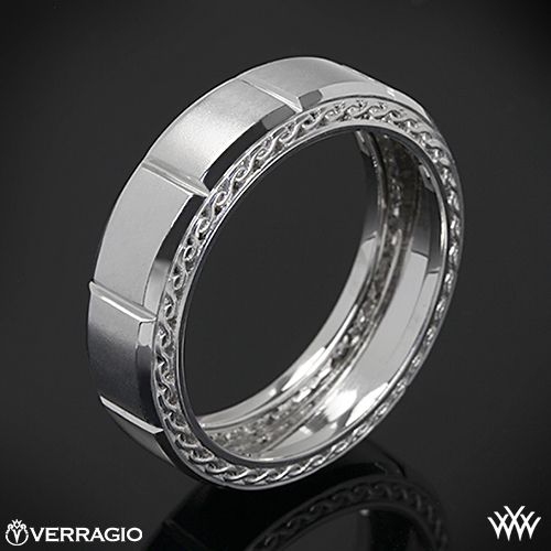 This Men's Verragio Wedding Ring features a compelling design that will highlight your guys individuality without overpowering it. The width of this ring is 7mm. Please allow 4 weeks for completion. Platinum rings carry a 5 week turnaround time. If you have any questions regarding this item then please contact one of our friendly diamond and jewelry consultants at 1-877-612-6770. MV-7002