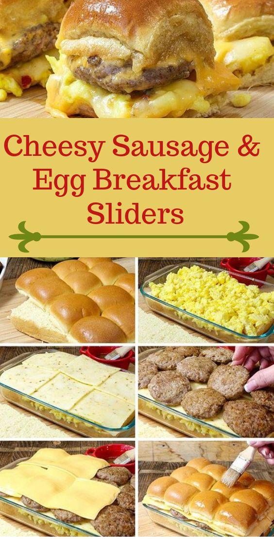 Cheesy Sausage & Egg Breakfast Sliders #dinner #egg
