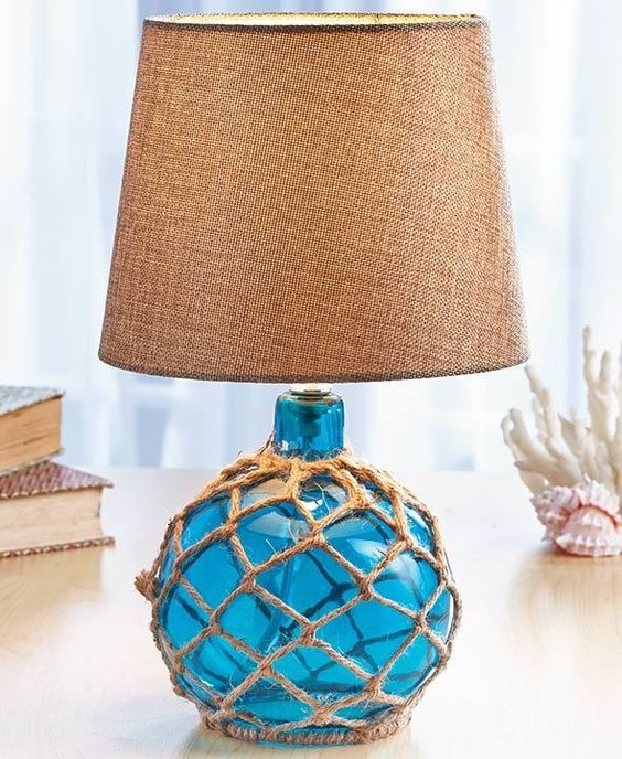 blue coastal glass float lamp beach house ocean sea nautical bedroom home decor nautical