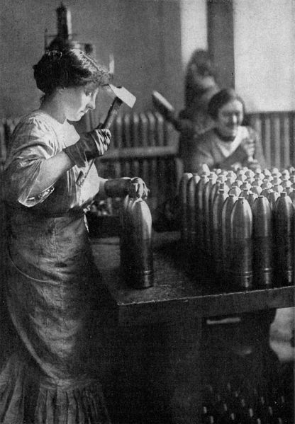 French women working in an ammunition factory. France. 1917.