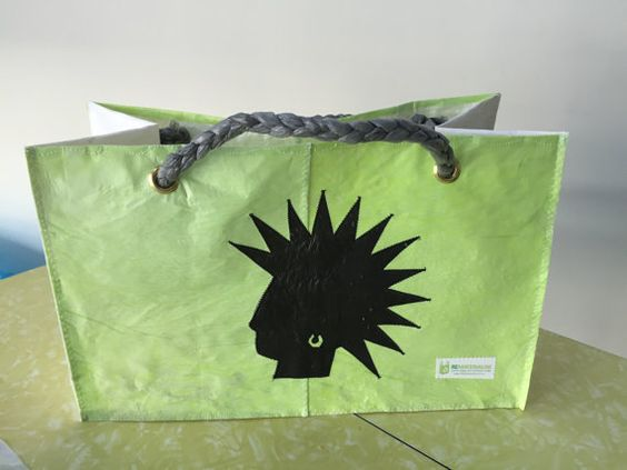 #Mohawk #punk green - Reusable shopping bag made out of 44 recycled single use plastic bags!! The real green choice in reusable bags.  www.ReMaterialise.co.nz