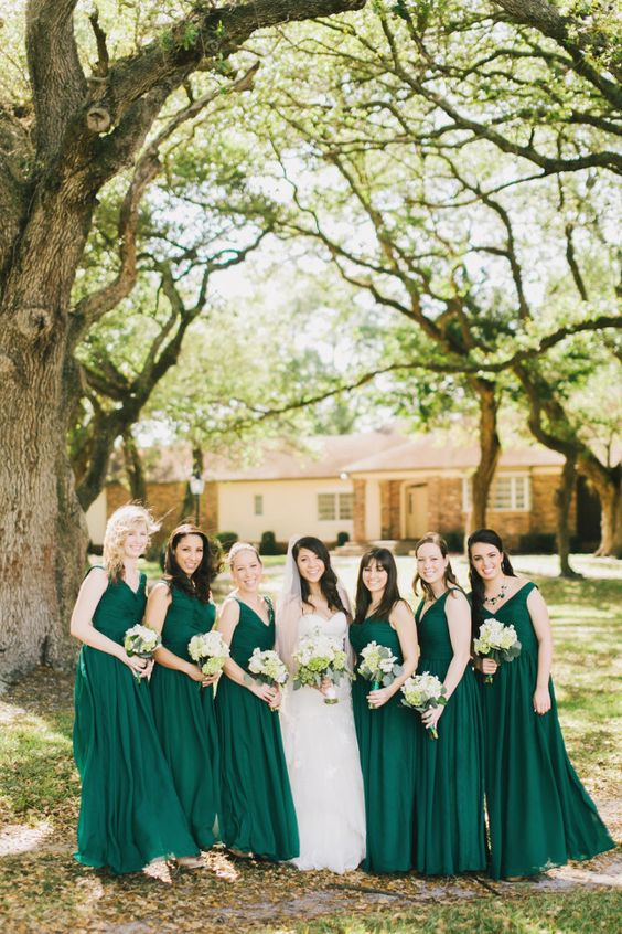 Forest green bridesmaid dresses green bridesmaids and for Forest green wedding dress