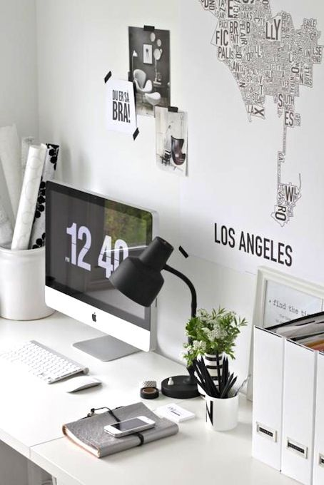home inspiration: BLACK & WHITE WORK SPACES: