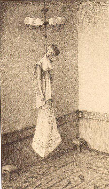 """Hanged Madam"" (1910 ?) ~ by Alfred KUBIN."