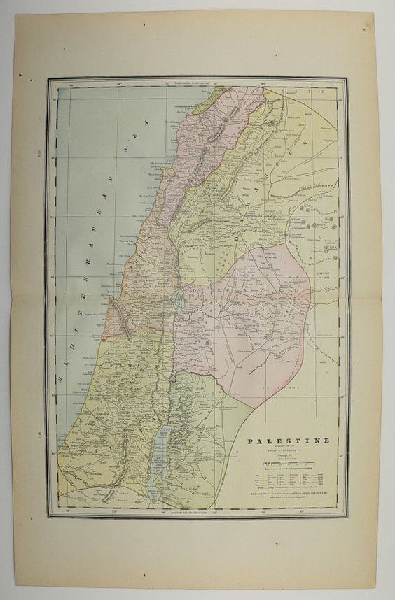 Antique palestine map vintage map of palestine 1886 original syria antique palestine map vintage map of palestine 1886 original syria israel major old world cities unique gumiabroncs Gallery