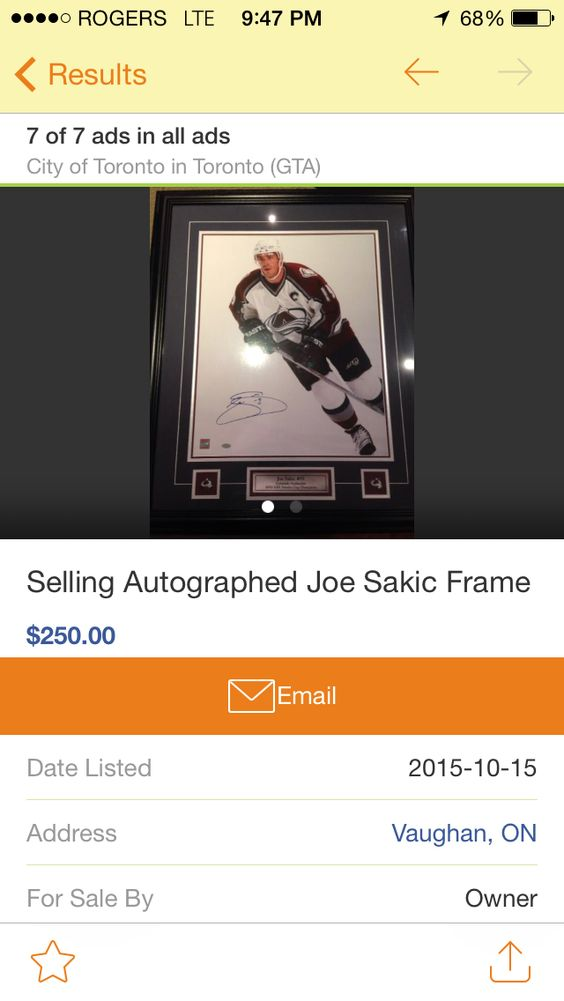 Joe Sakic signed
