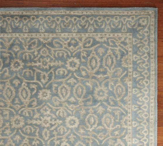 Diamond Basic Porcelain Blue Persian Style Wool Area Rug: Pottery Barn Rugs 9×12