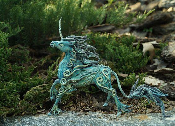 Krickente Mond schwarz Einhorn Pferd Abbildung Innendekoration Totem Magie