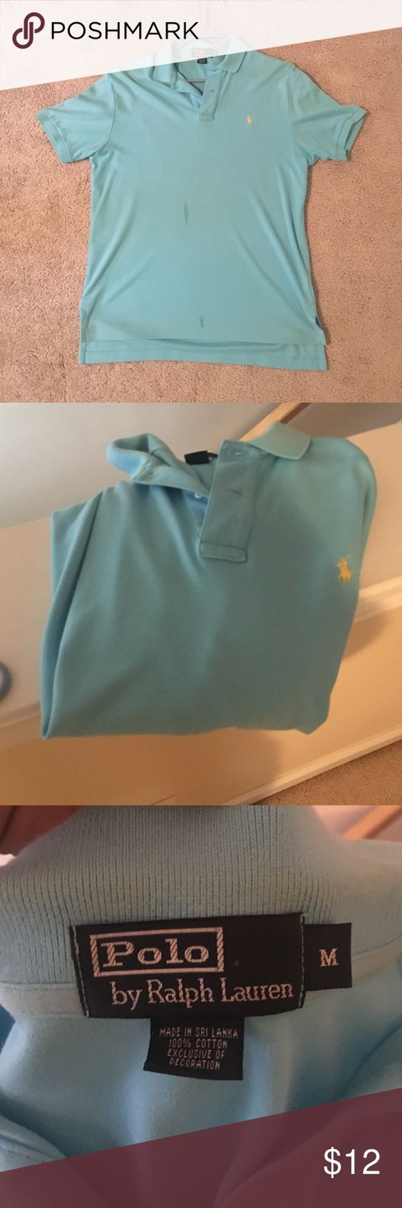 Blue polo! nice shirt. Looks to have two small stains on the front which can be washed out. And the neck is close to being yellowed but not bad. It doesn't fit anymore so we are selling. Price is very low due to the wash you will have to do when you get it. But other than that it's a good deal! Polo by Ralph Lauren Shirts Polos