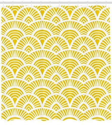 Abakuhaus Gelb Duschvorhang Vintage Japanische Scales Hochwertig