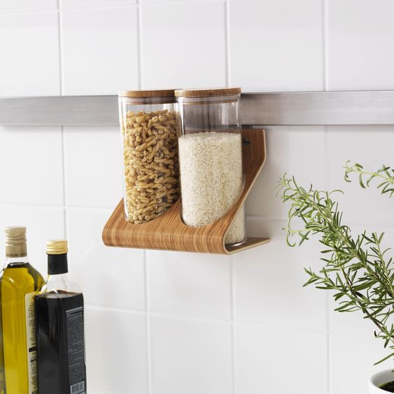 RIMFORSA standaard met potjes   #IKEA #IKEAnl #houder #bamboe #staal #ophangen #opruimen #ruimte #aanrecht