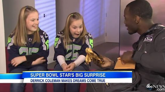 (VIDEO) #Seahawks fullback Derrick Coleman surprises two young fans with hearing loss who wrote him a heartwarming letter