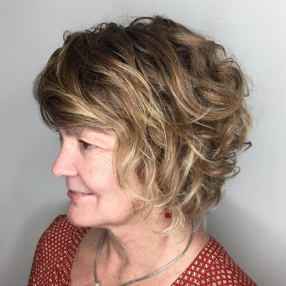 Cute Curly Bob with Blonde Babylights