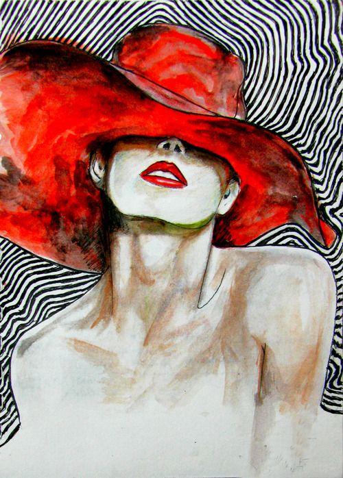 donna con cappello rosso: