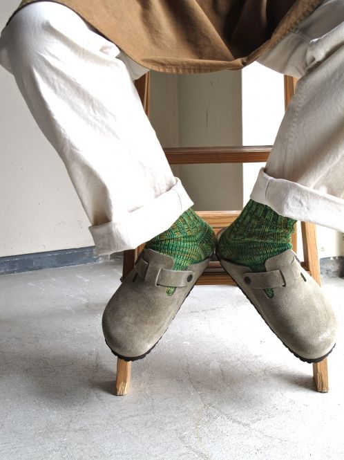 Beige shoes and green socks #birkenstocks # fashion # socks
