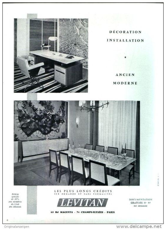 Original-Anzeige / Publicité 1957 - (en français) MEUBLES - LEVITAN - PARIS - ca. 200 x 270 mm
