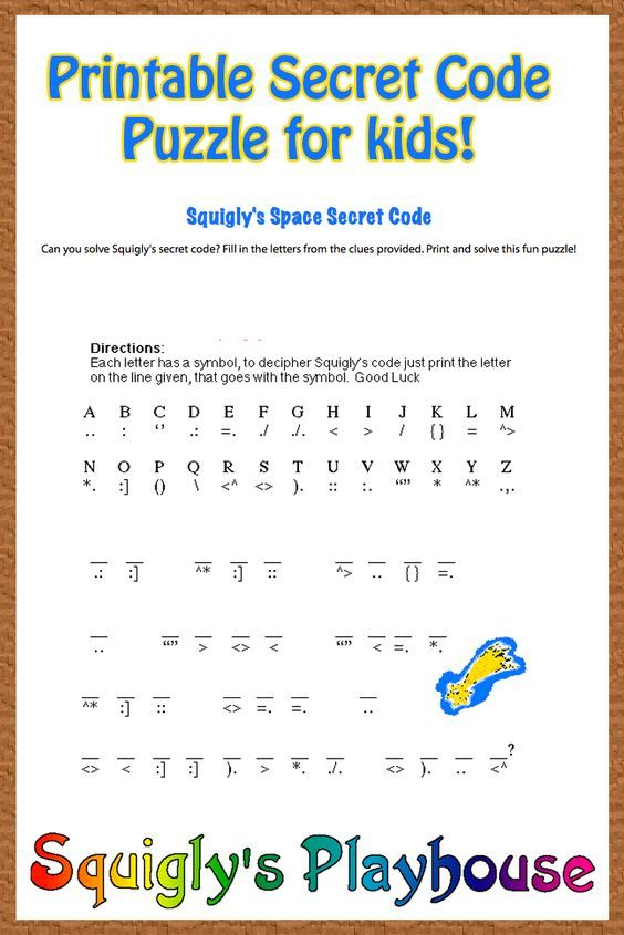 Free Printable Secret Code Word Puzzle For Kids This Puzzle Has A Space Theme Free For Home And Cla Word Puzzles For Kids Coding For Kids Word Games For Kids Code breaking worksheets