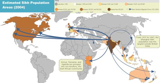 Diffusion Map Of Sikhism To Other Countries Sikhpointcom - Religious diffusion maps us