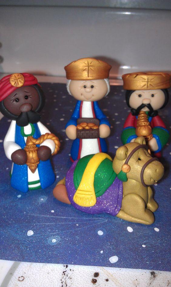 OOAK Polymer Clay Nativity Set 13 pieces Free por AlishaTodd: