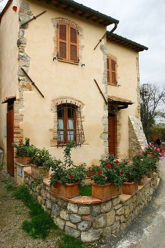 Tuscan cottage maybe adding some rustic stones to corner for Rustic tuscan house plans