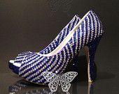 Sapphire Clear Crystal Stripes Luxury Peep Toe Heels #EasyNip