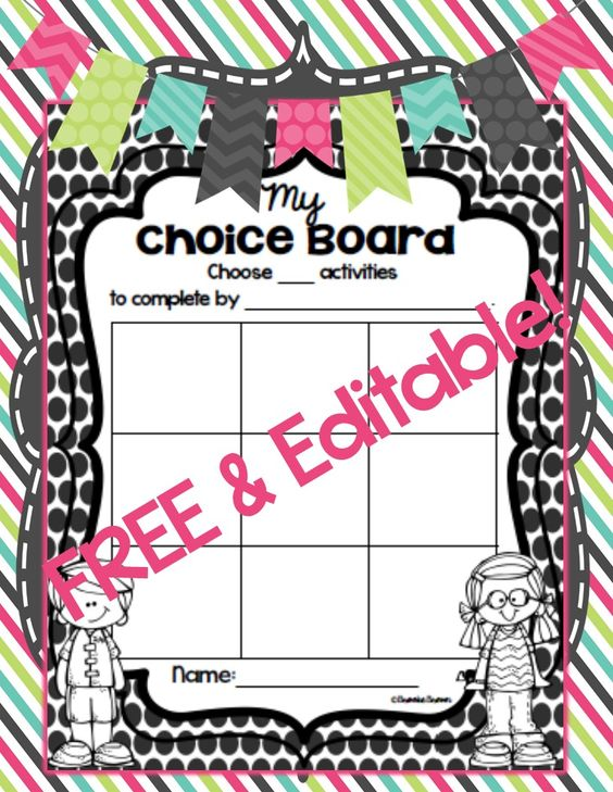 Unleash the power of CHOICE in your students' learning! FREE and EDITABLE Choice Boards in 4 formats! Perfect for differentiated literacy centers or work stations for elementary students. Great for remediation and enrichment activities or homework!