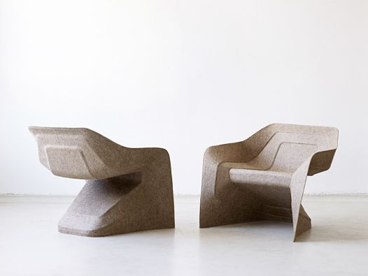 The *hemp chair* has been designed for a lightweight manufacturing process stemming from the car industry: the renewable raw materials hemp and kenaf are compressed with a water-based thermoset binder to form an eco-friendly, lightweight and yet strong composite.